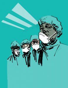 cartoon of nurses in masks