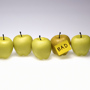 group of apples with one bad apple